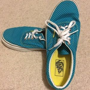 Blue and yellow VANS